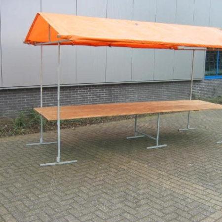 Marktkraam 400 x 115 cm oranje zeil/dak
