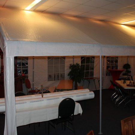 Tent 4 x 4 meter buizenframe, kleur wit