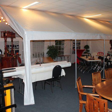 Tent 8 x 4 meter buizenframe, kleur wit