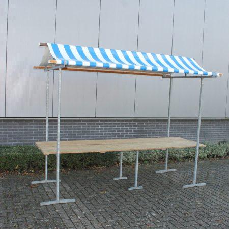 Hollandse marktkraam model Agaat, afmeting 300 x 80 cm blauw / wit gestreept dak.