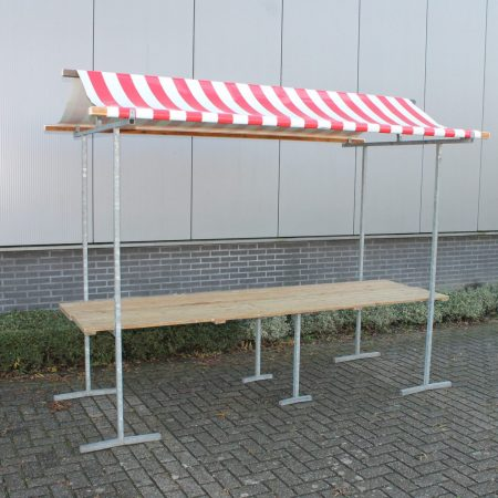 Hollandse marktkraam model Agaat, afmeting 300 x 80 cm rood / wit gestreept dak.