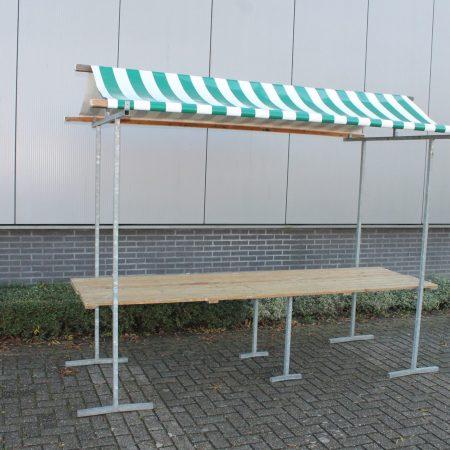 Hollandse marktkraam model Agaat, afmeting 300 x 80 cm  groen / wit gestreept dak
