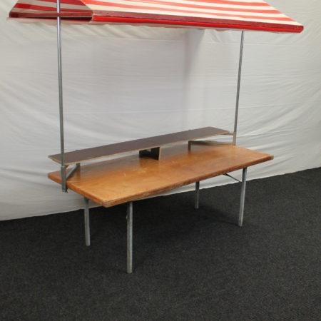 Partykraam 200 x 85 cm rood-wit dak