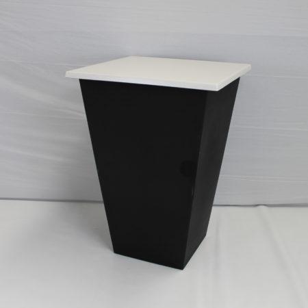 Statafel conic  zwart blad wit 80 x80 cm
