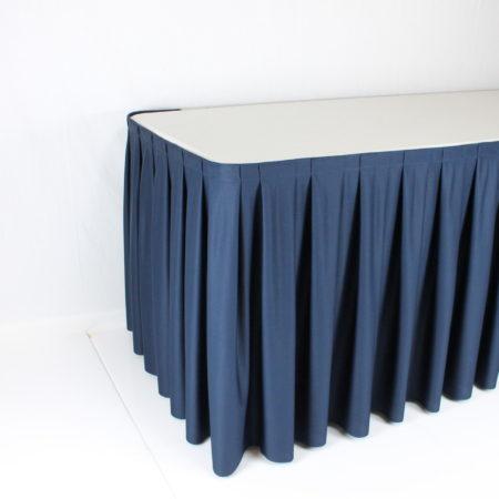Tafelrok blauw 4 meter lang 70 cm hoog
